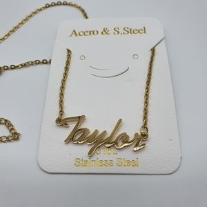 Taylor Gold Nameplate Necklace